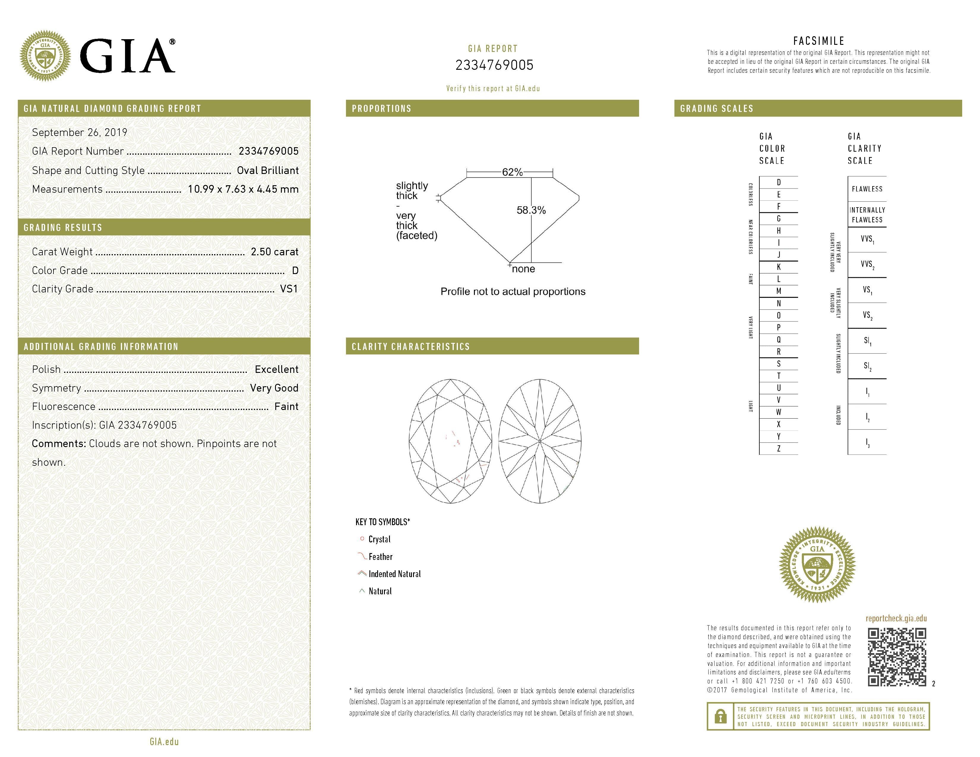 This is a 2.50 carat oval shape, D color, VS1 clarity natural diamond accompanied by a GIA grading report.