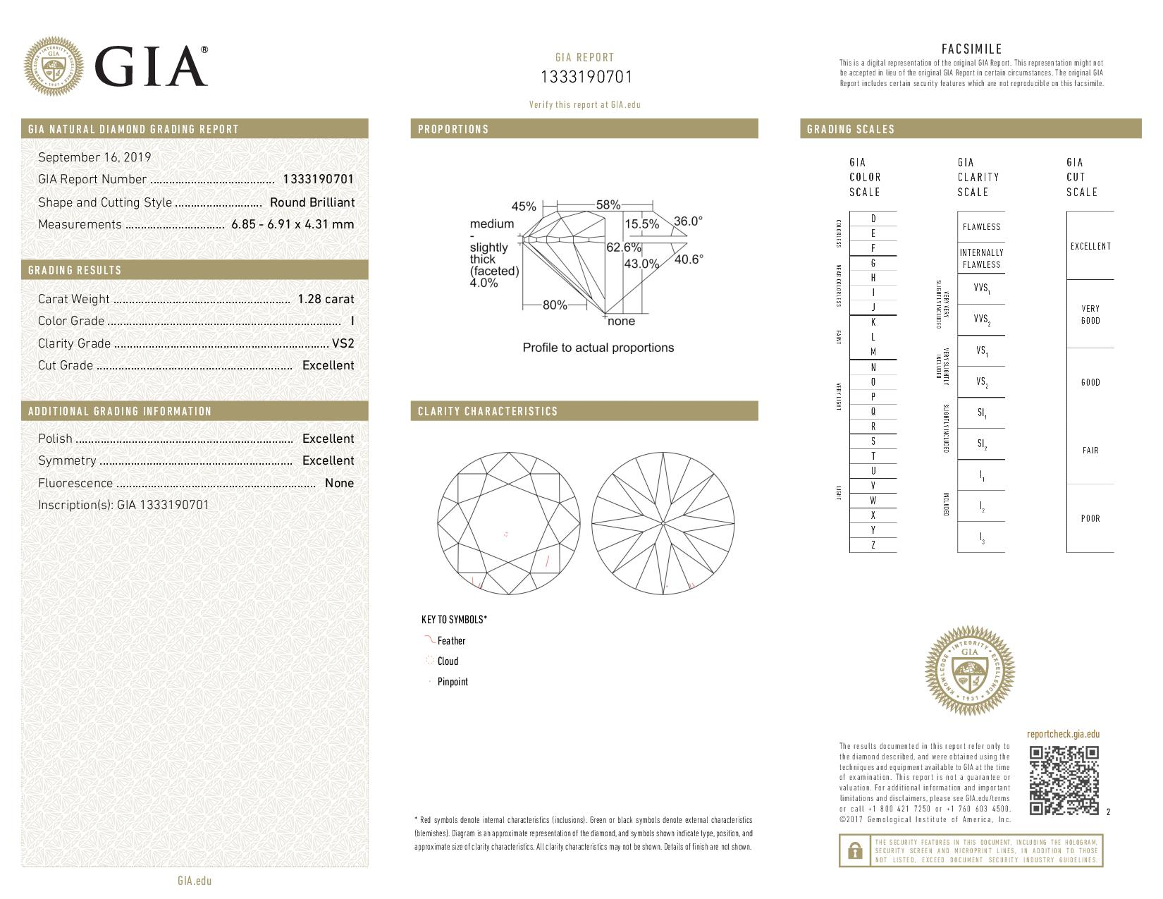 This is a 1.28 carat round shape, I color, VS2 clarity natural diamond accompanied by a GIA grading report.