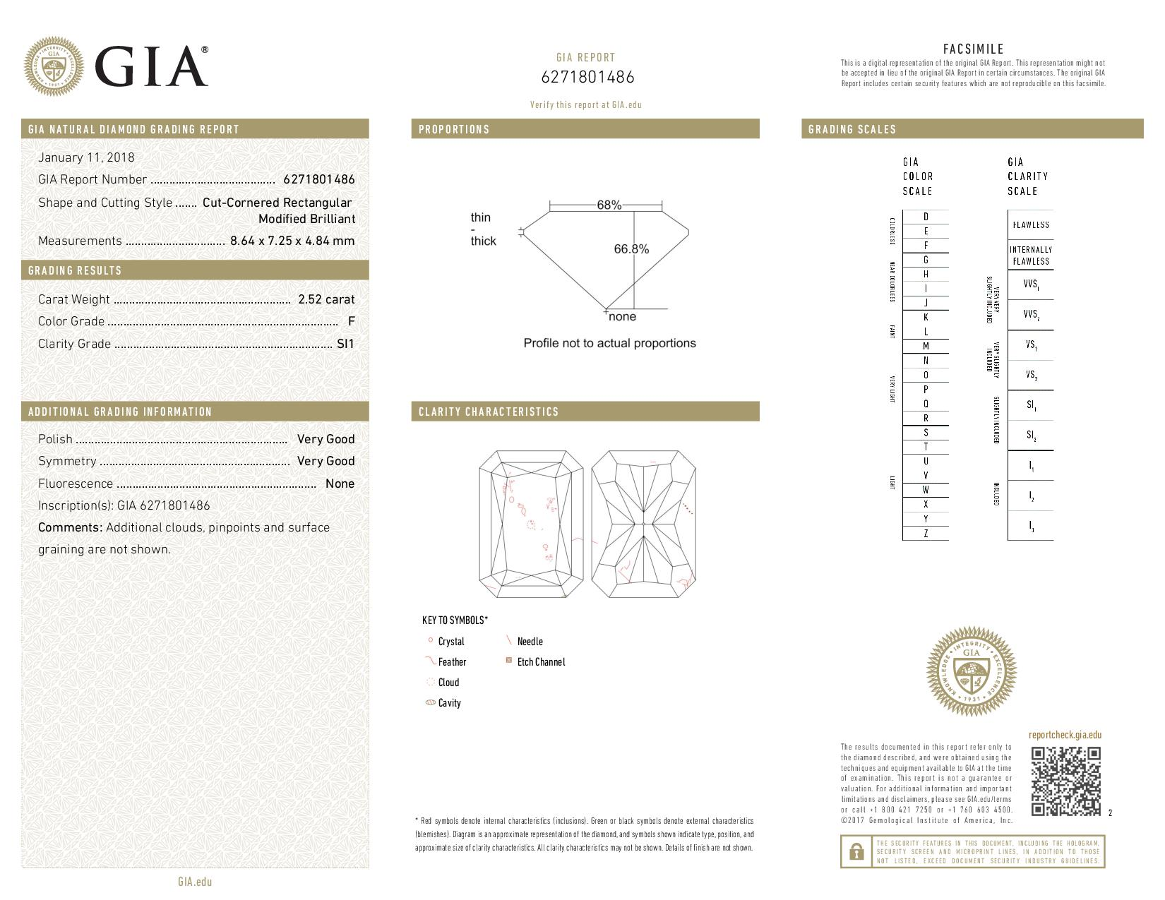 This is a 2.52 carat radiant shape, F color, SI1 clarity natural diamond accompanied by a GIA grading report.