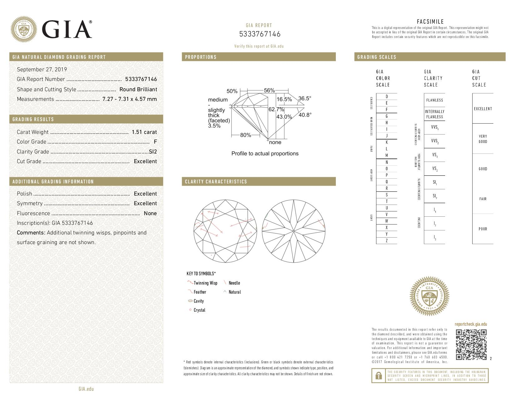 This is a 1.51 carat round shape, F color, SI2 clarity natural diamond accompanied by a GIA grading report.