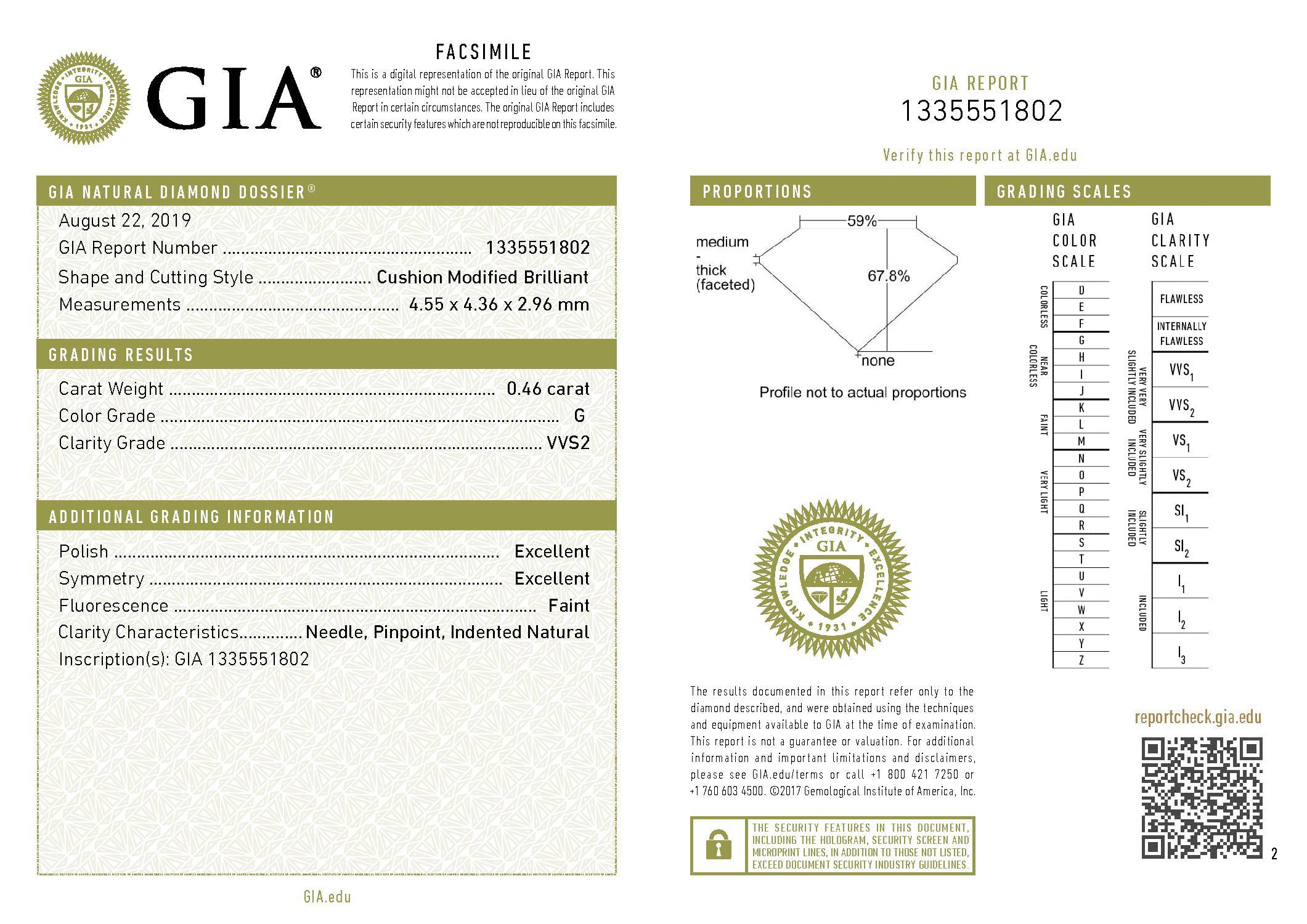 This is a 0.46 carat cushion shape, G color, VVS2 clarity natural diamond accompanied by a GIA grading report.