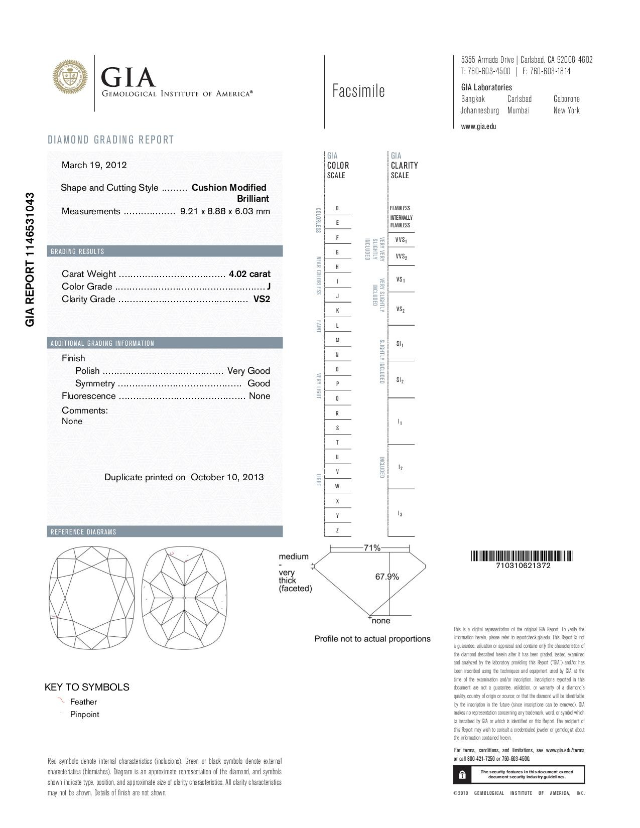 This is a 4.02 carat cushion shape, J color, VS2 clarity natural diamond accompanied by a GIA grading report.