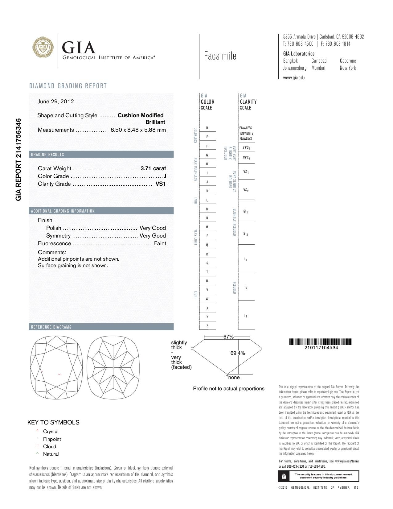 This is a 3.71 carat cushion shape, J color, VS1 clarity natural diamond accompanied by a GIA grading report.
