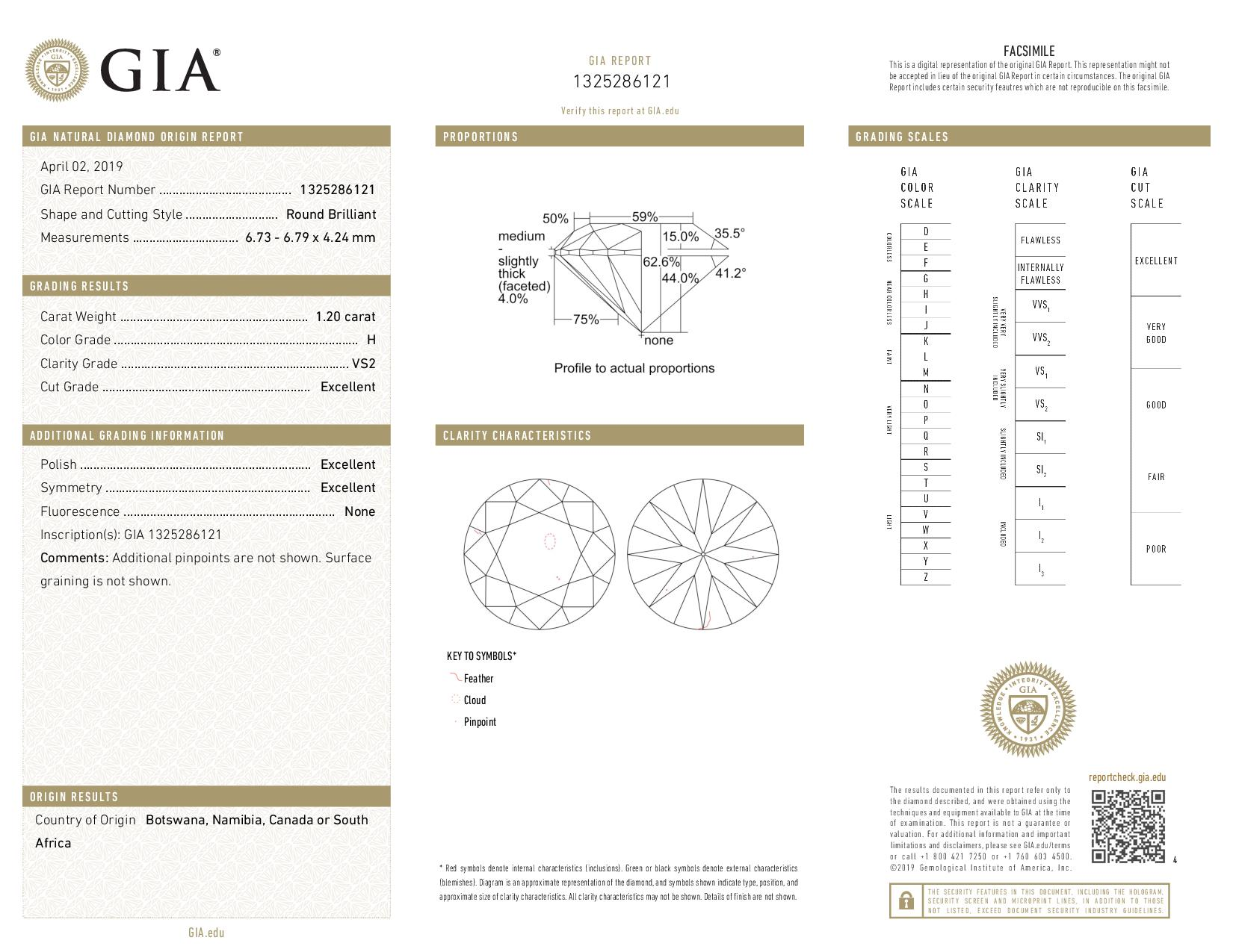 This is a 1.20 carat round shape, H color, VS2 clarity natural diamond accompanied by a GIA grading report.