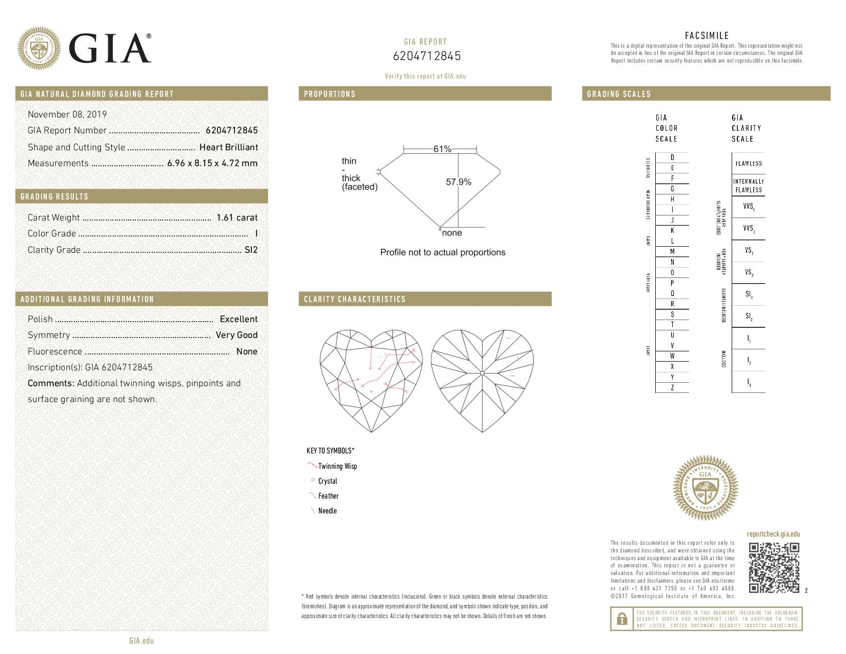 This is a 1.61 carat heart shape, I color, SI2 clarity natural diamond accompanied by a GIA grading report.