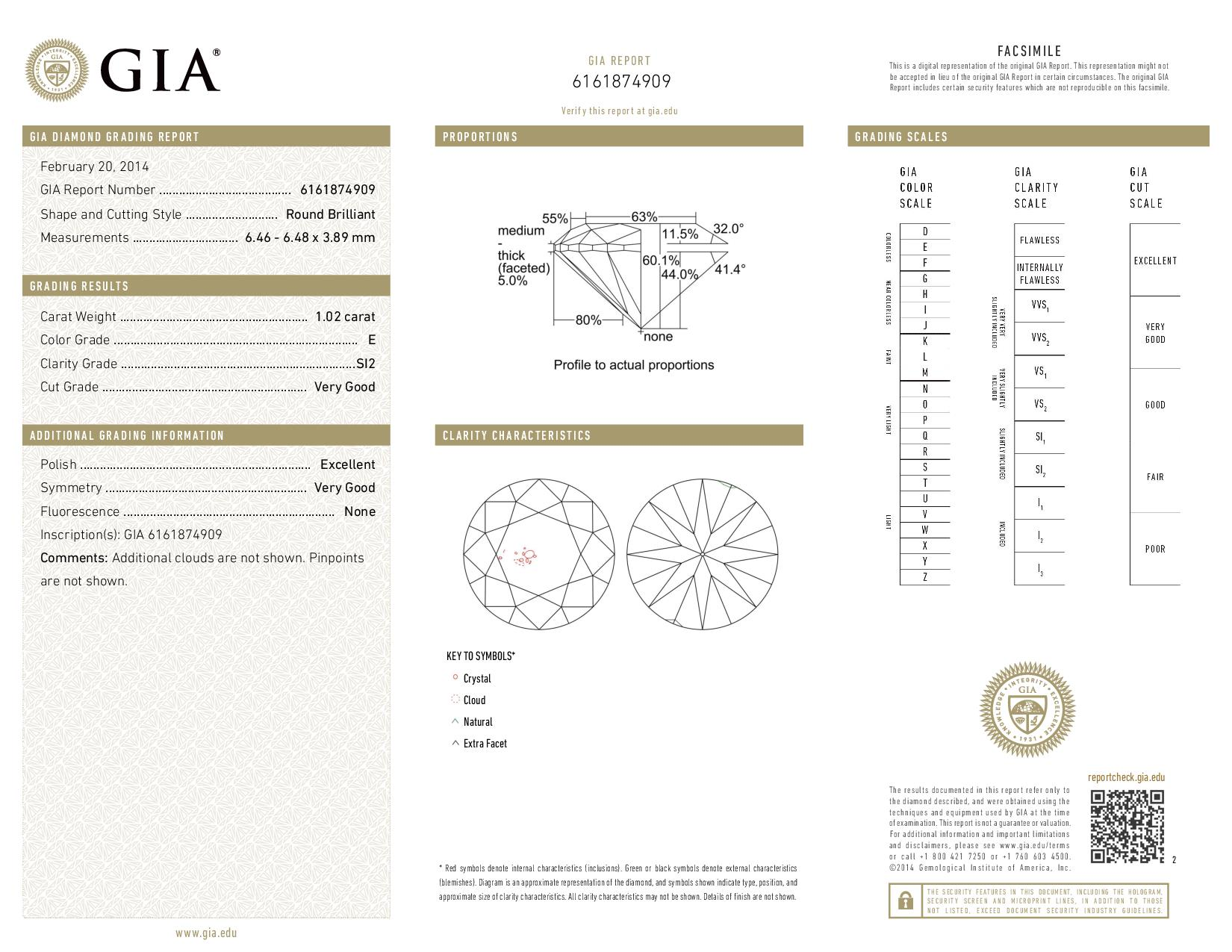 This is a 1.02 carat round shape, E color, SI2 clarity natural diamond accompanied by a GIA grading report.