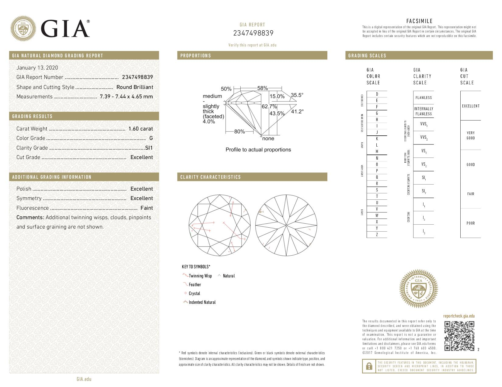 This is a 1.60 carat round shape, G color, SI1 clarity natural diamond accompanied by a GIA grading report.