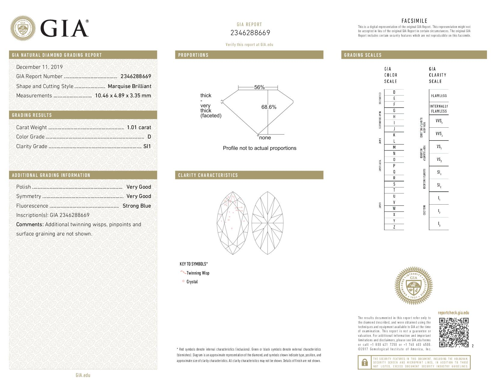 This is a 1.01 carat marquise shape, D color, SI1 clarity natural diamond accompanied by a GIA grading report.