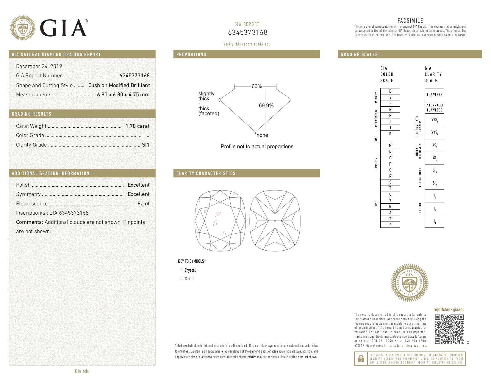 This is a 1.70 carat cushion shape, J color, SI1 clarity natural diamond accompanied by a GIA grading report.