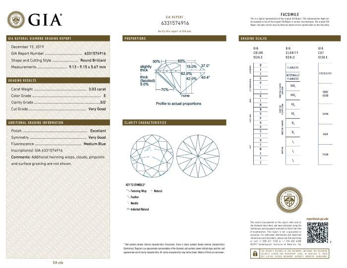 This is a 3.03 carat round shape, E color, SI2 clarity natural diamond accompanied by a GIA grading report.