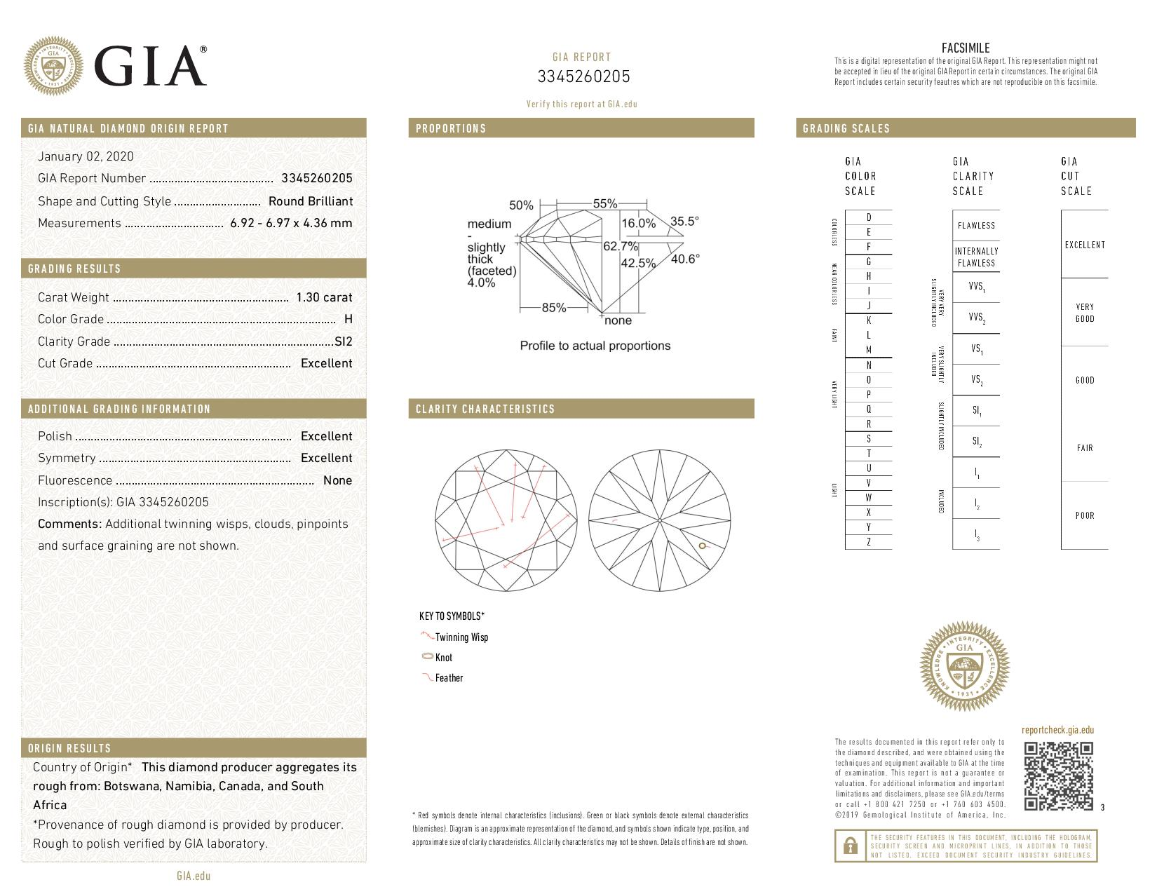This is a 1.30 carat round shape, H color, SI2 clarity natural diamond accompanied by a GIA grading report.
