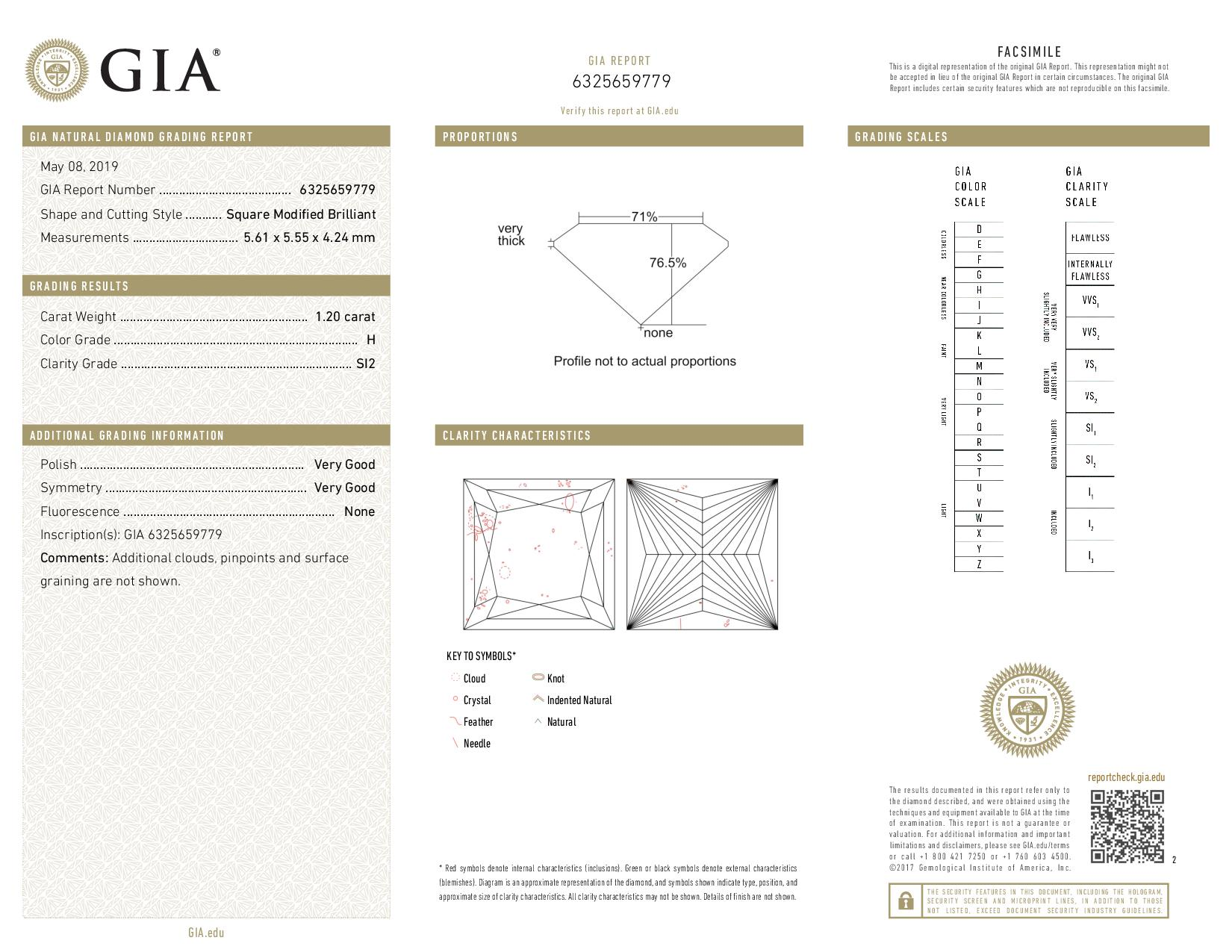 This is a 1.20 carat princess shape, H color, SI2 clarity natural diamond accompanied by a GIA grading report.