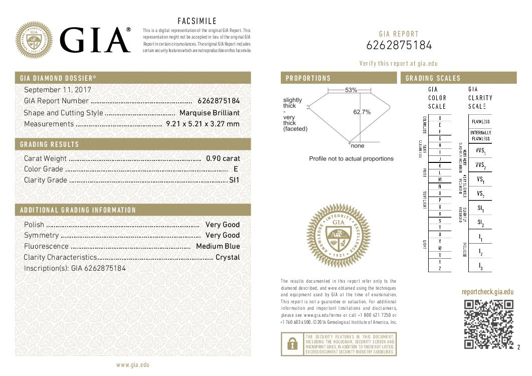 This is a 0.90 carat marquise shape, E color, SI1 clarity natural diamond accompanied by a GIA grading report.