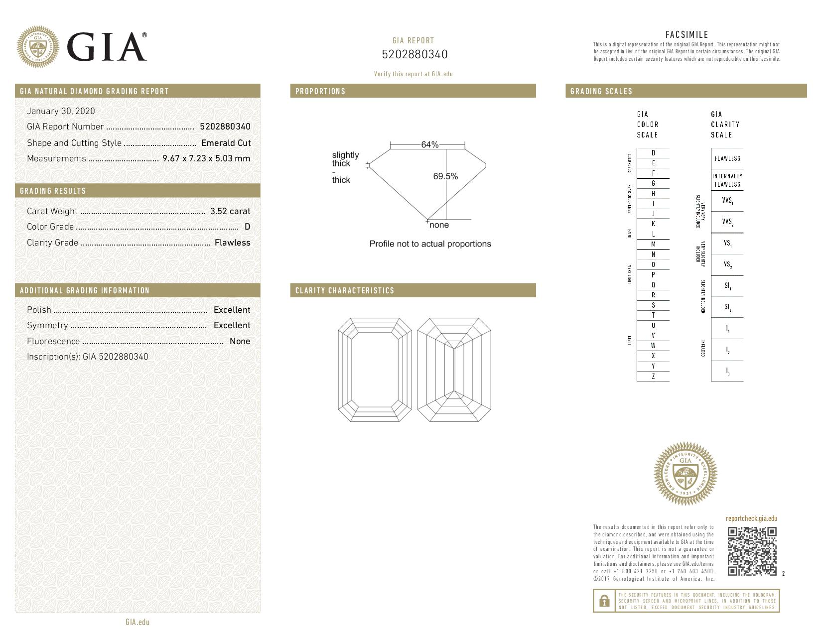 This is a 3.52 carat emerald shape, D color, FL clarity natural diamond accompanied by a GIA grading report.