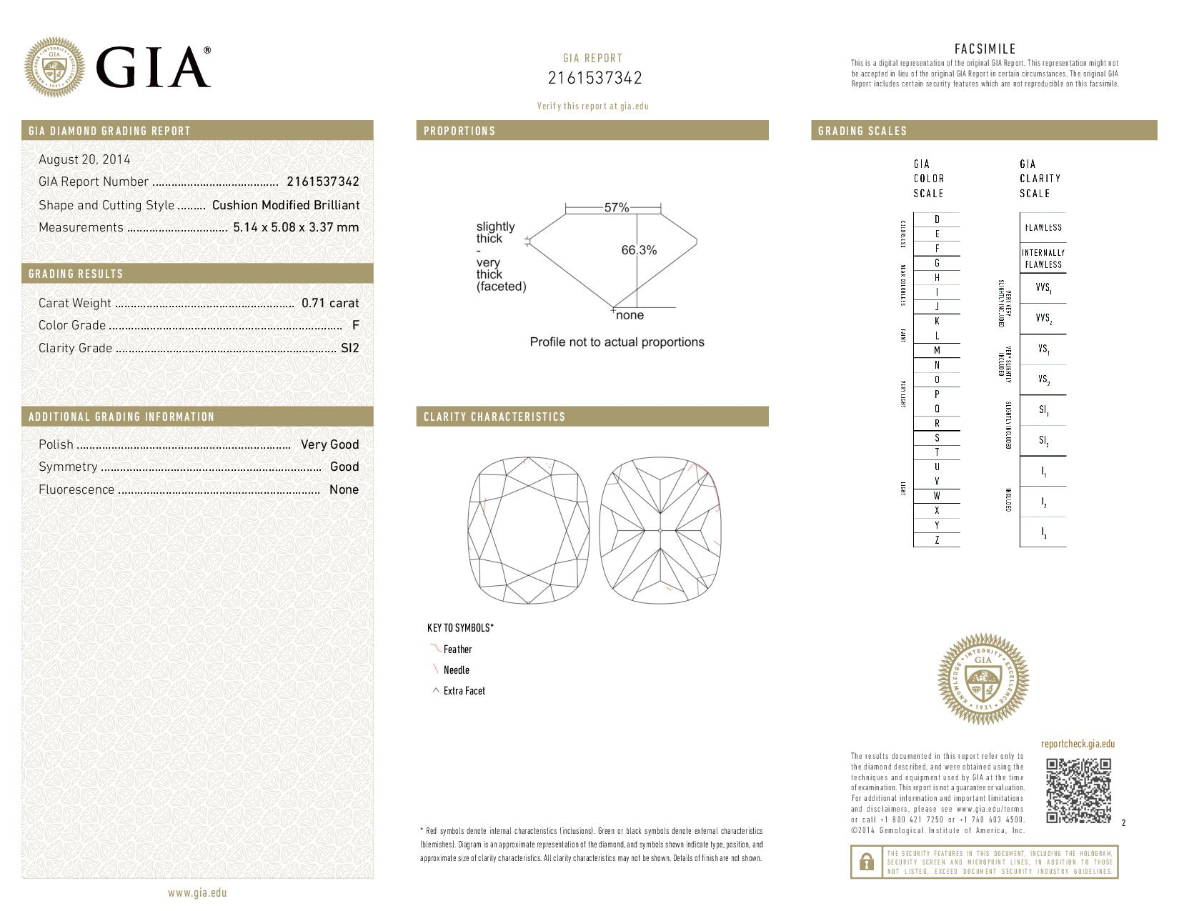 This is a 0.71 carat cushion shape, F color, SI2 clarity natural diamond accompanied by a GIA grading report.