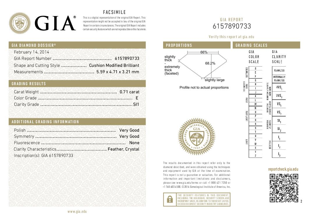 This is a 0.71 carat cushion shape, E color, SI1 clarity natural diamond accompanied by a GIA grading report.
