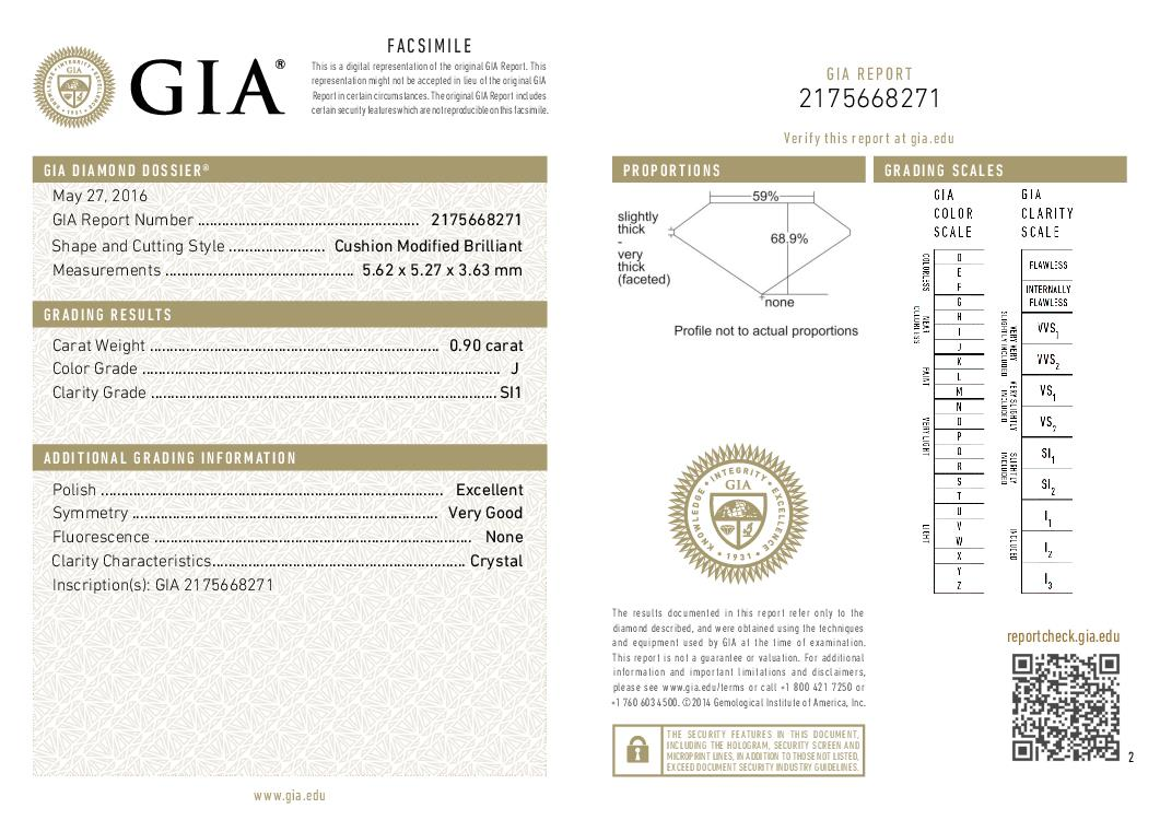 This is a 0.90 carat cushion shape, J color, SI1 clarity natural diamond accompanied by a GIA grading report.