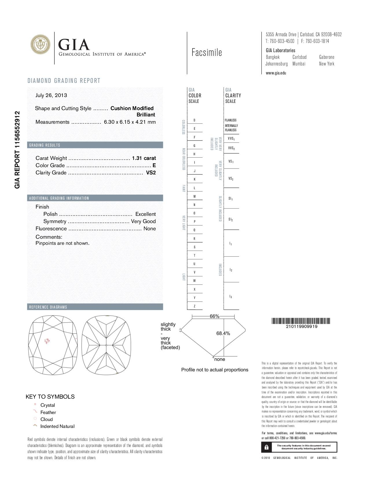 This is a 1.31 carat cushion shape, E color, VS2 clarity natural diamond accompanied by a GIA grading report.
