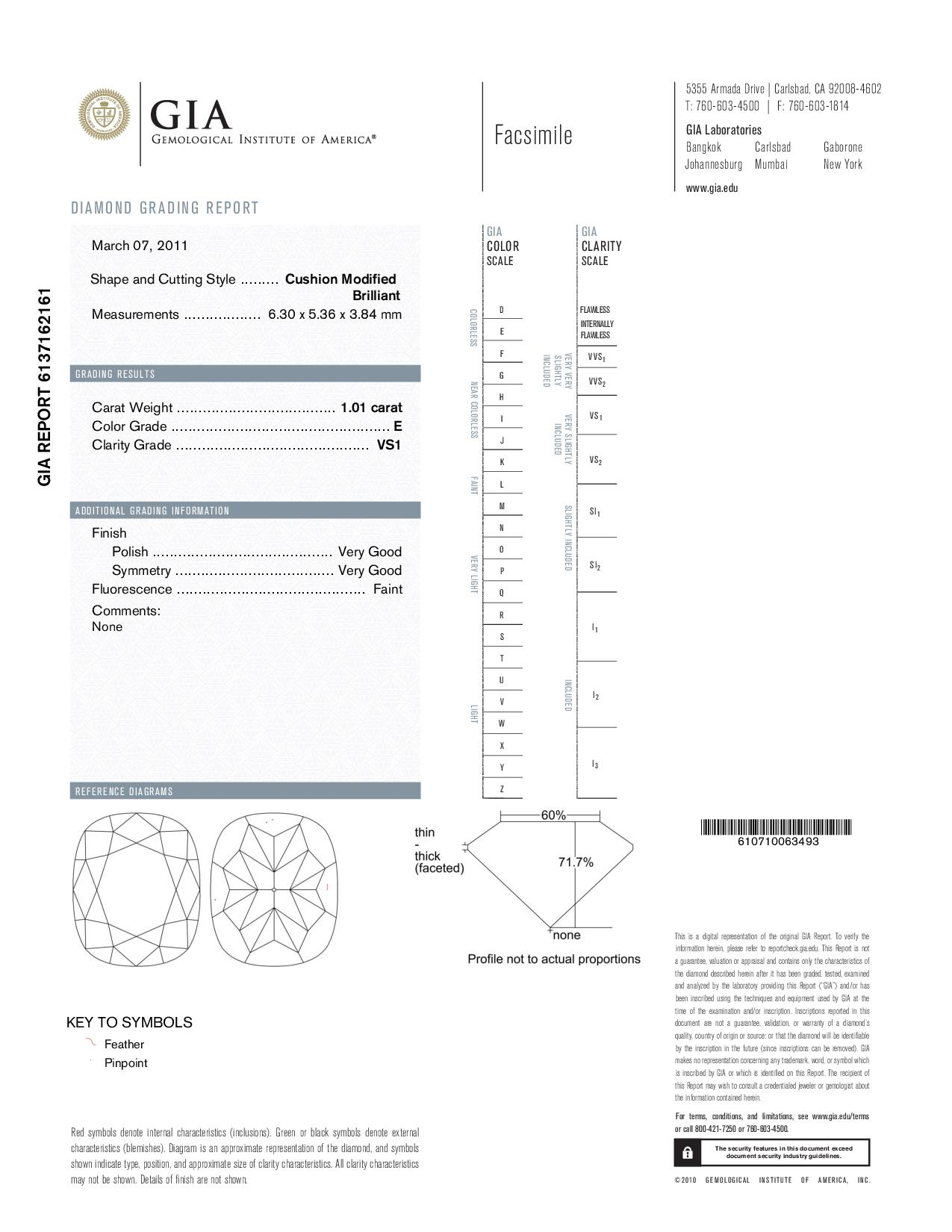 This is a 1.01 carat cushion shape, E color, VS1 clarity natural diamond accompanied by a GIA grading report.