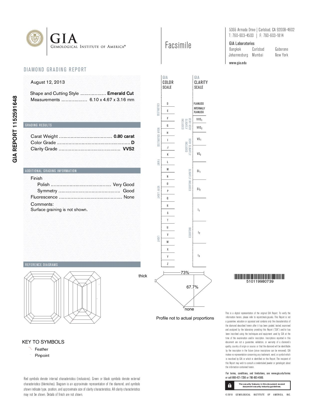 This is a 0.80 carat emerald shape, D color, VVS2 clarity natural diamond accompanied by a GIA grading report.