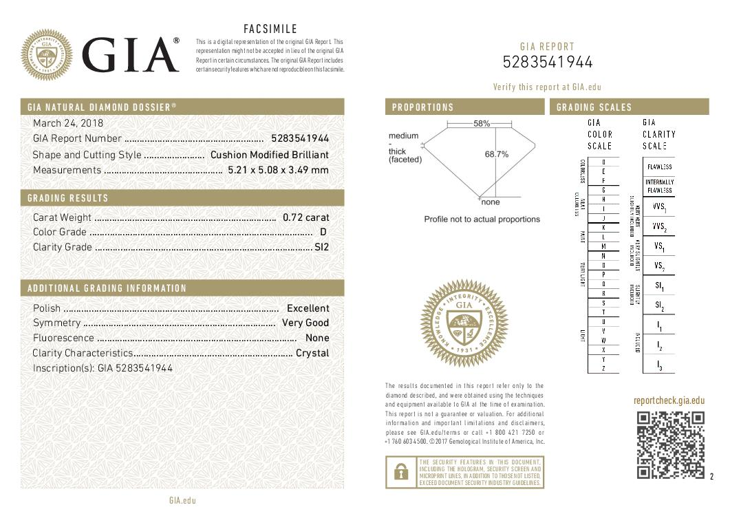 This is a 0.72 carat cushion shape, D color, SI2 clarity natural diamond accompanied by a GIA grading report.