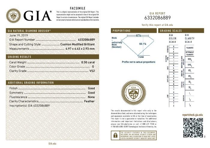 This is a 0.50 carat cushion shape, G color, VS2 clarity natural diamond accompanied by a GIA grading report.