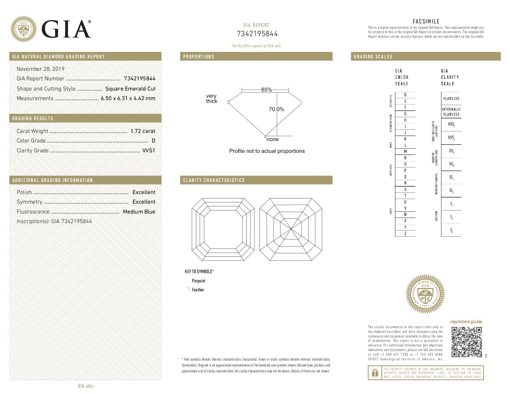 This is a 1.72 carat asscher shape, D color, VVS1 clarity natural diamond accompanied by a GIA grading report.