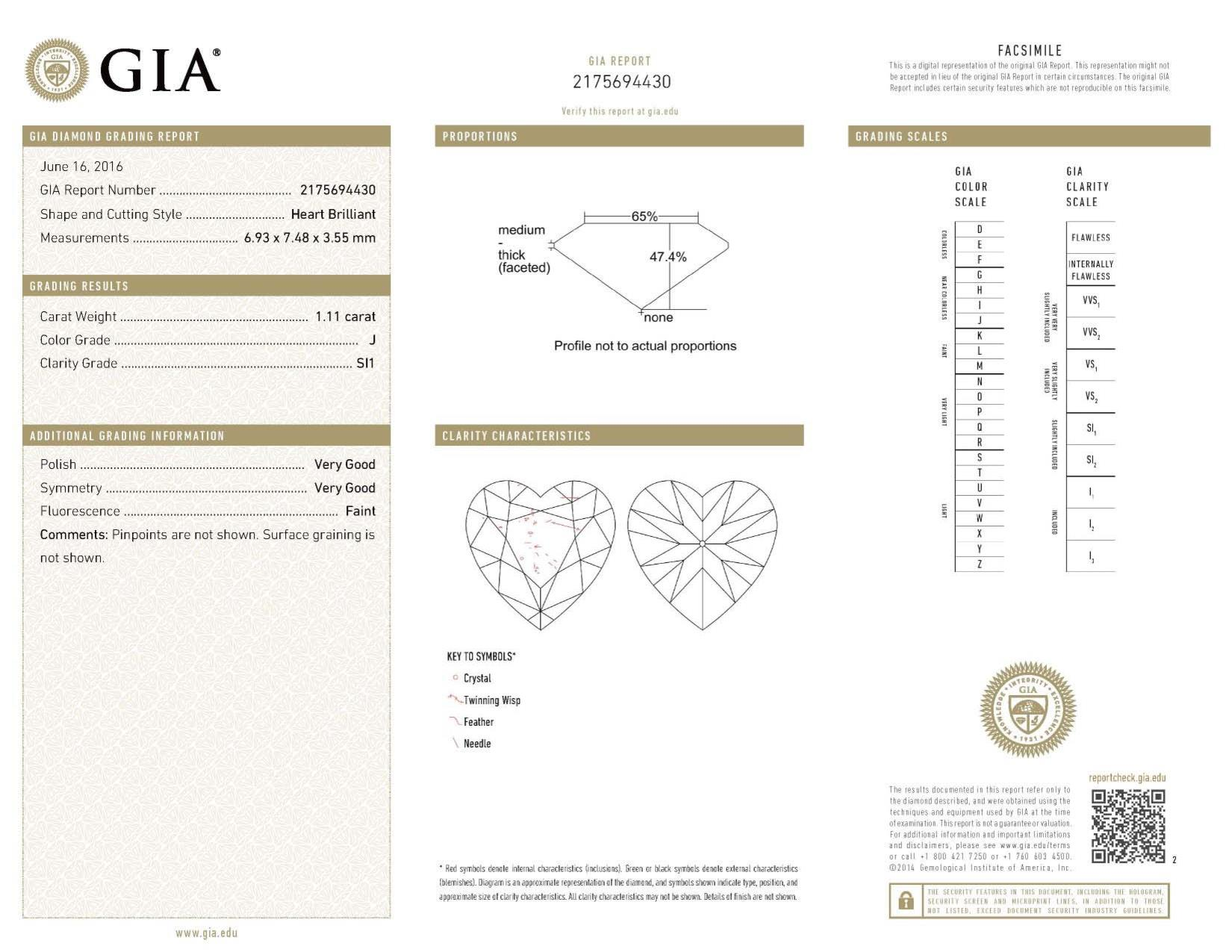 This is a 1.11 carat heart shape, J color, SI1 clarity natural diamond accompanied by a GIA grading report.