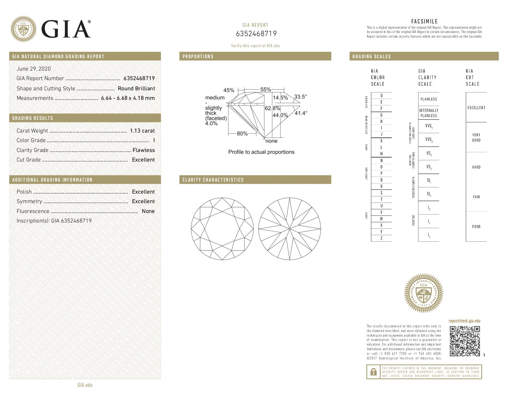 This is a 1.13 carat round shape, I color, FL clarity natural diamond accompanied by a GIA grading report.