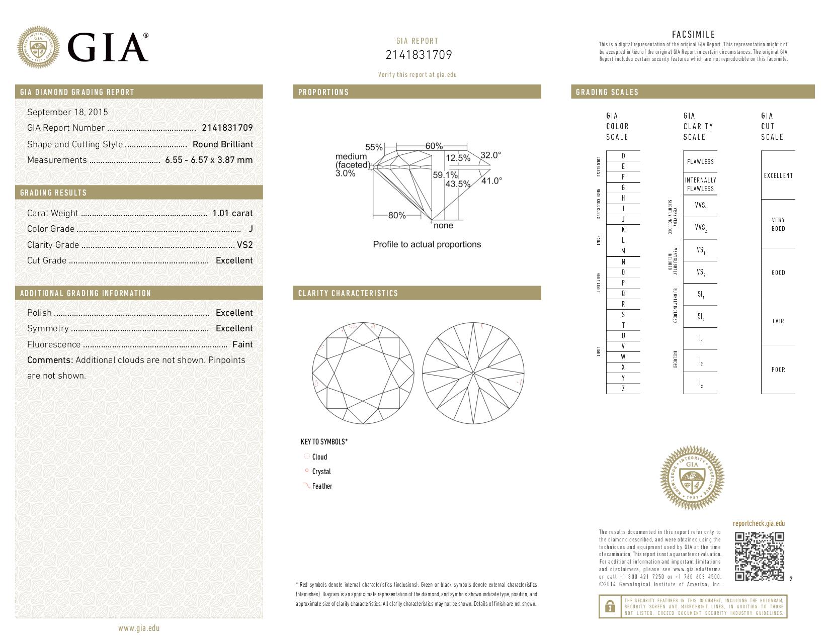 This is a 1.01 carat round shape, J color, VS2 clarity natural diamond accompanied by a GIA grading report.