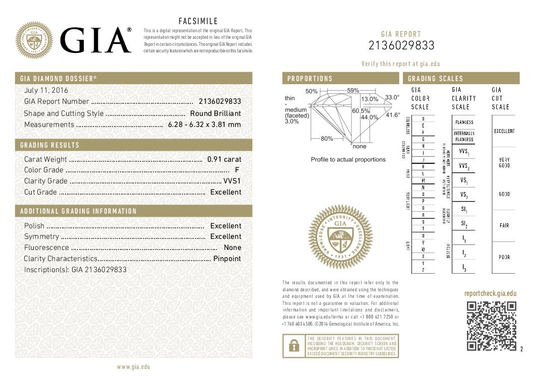 This is a 0.91 carat round shape, F color, VVS1 clarity natural diamond accompanied by a GIA grading report.