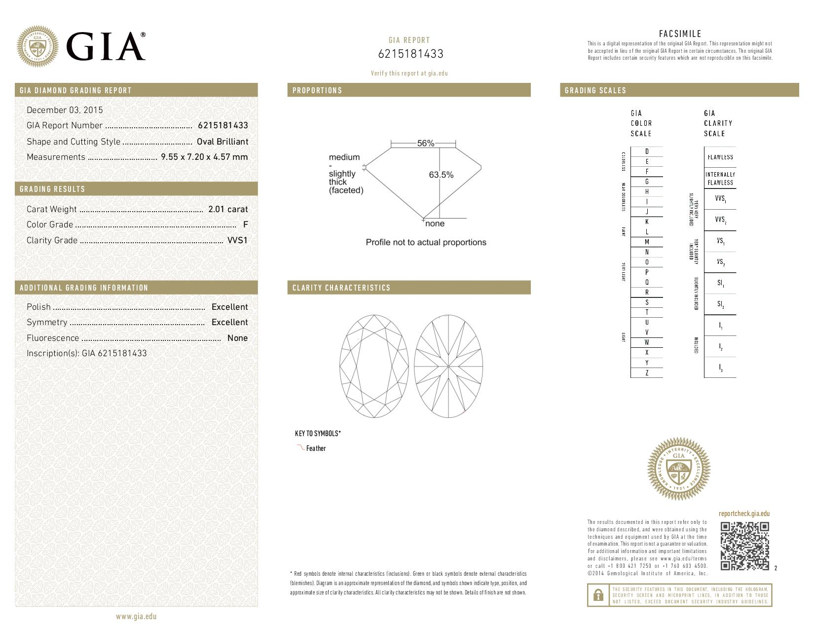 This is a 2.01 carat oval shape, F color, VVS1 clarity natural diamond accompanied by a GIA grading report.