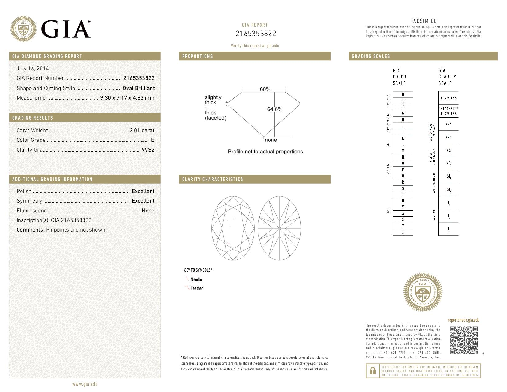 This is a 2.01 carat oval shape, E color, VVS2 clarity natural diamond accompanied by a GIA grading report.