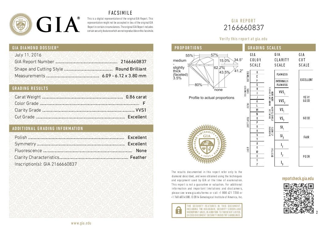 This is a 0.86 carat round shape, F color, VVS1 clarity natural diamond accompanied by a GIA grading report.