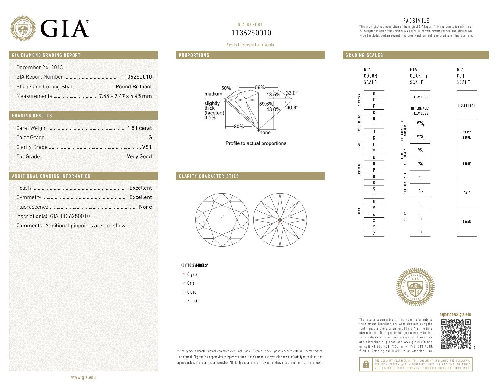 This is a 1.51 carat round shape, G color, VS1 clarity natural diamond accompanied by a GIA grading report.