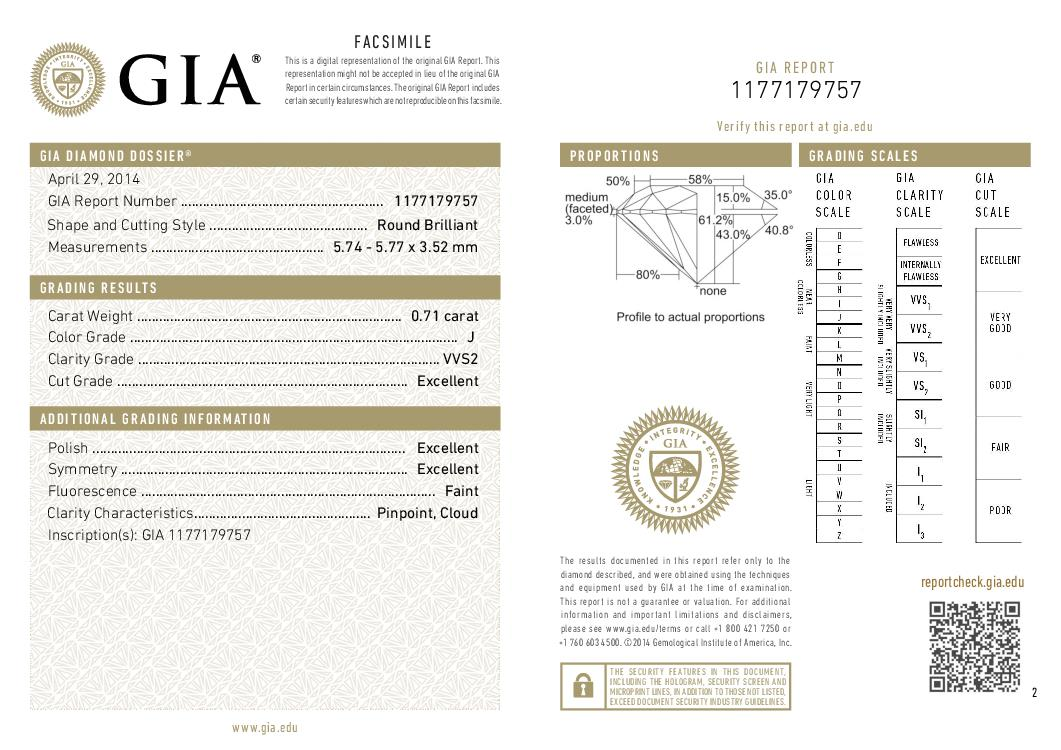 This is a 0.71 carat round shape, J color, VVS2 clarity natural diamond accompanied by a GIA grading report.