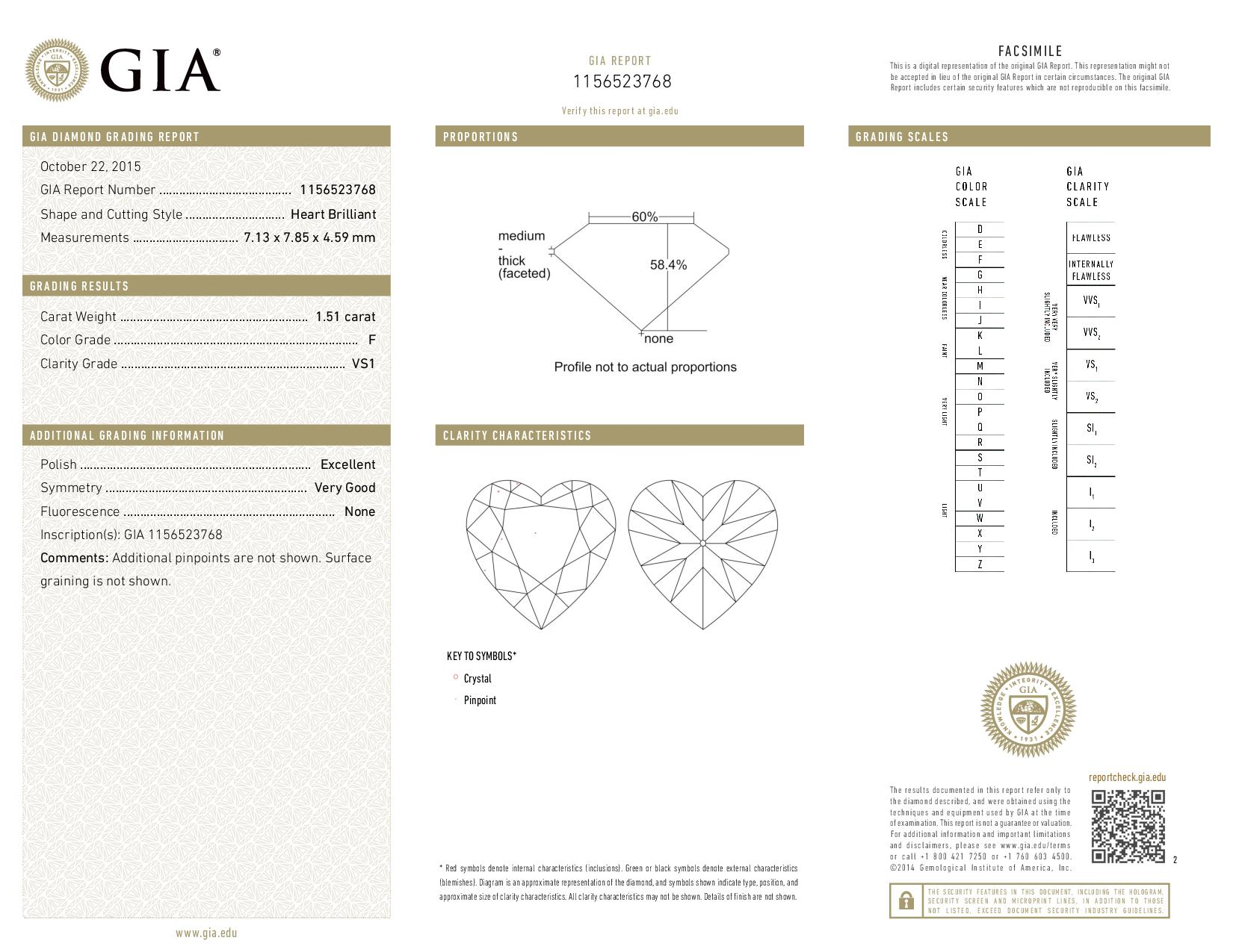 This is a 1.51 carat heart shape, F color, VS1 clarity natural diamond accompanied by a GIA grading report.