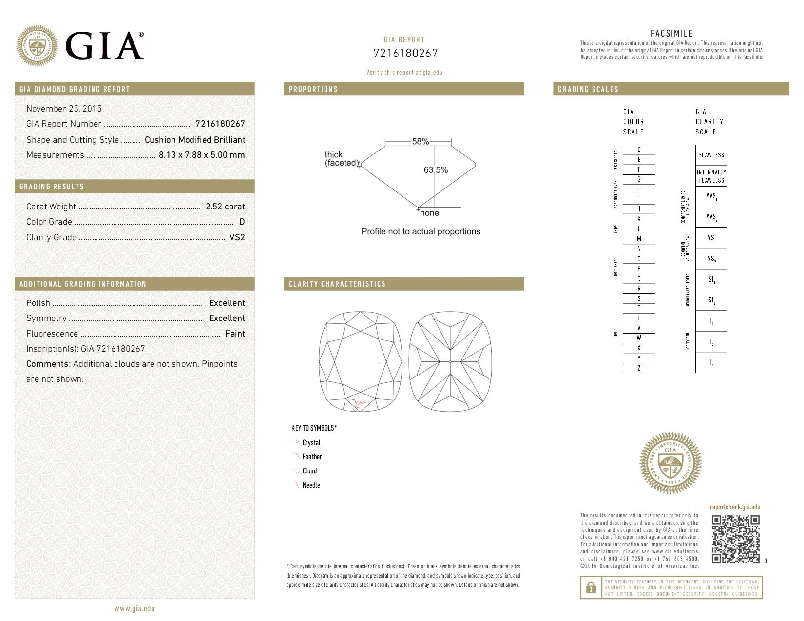 This is a 2.52 carat cushion shape, D color, VS2 clarity natural diamond accompanied by a GIA grading report.