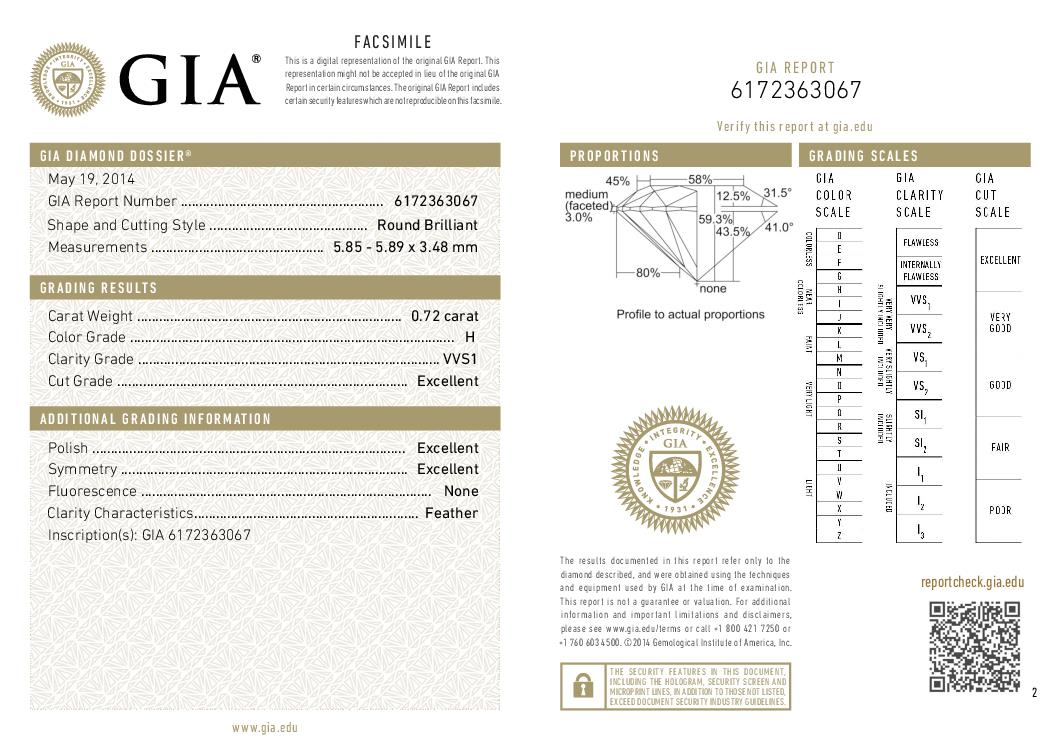 This is a 0.72 carat round shape, H color, VVS1 clarity natural diamond accompanied by a GIA grading report.