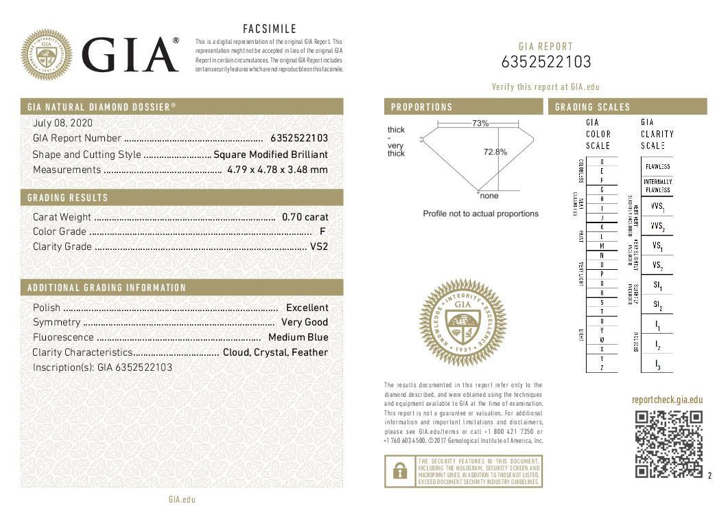 This is a 0.70 carat princess shape, F color, VS2 clarity natural diamond accompanied by a GIA grading report.