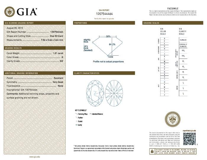 This is a 1.01 carat oval shape, G color, SI2 clarity natural diamond accompanied by a GIA grading report.