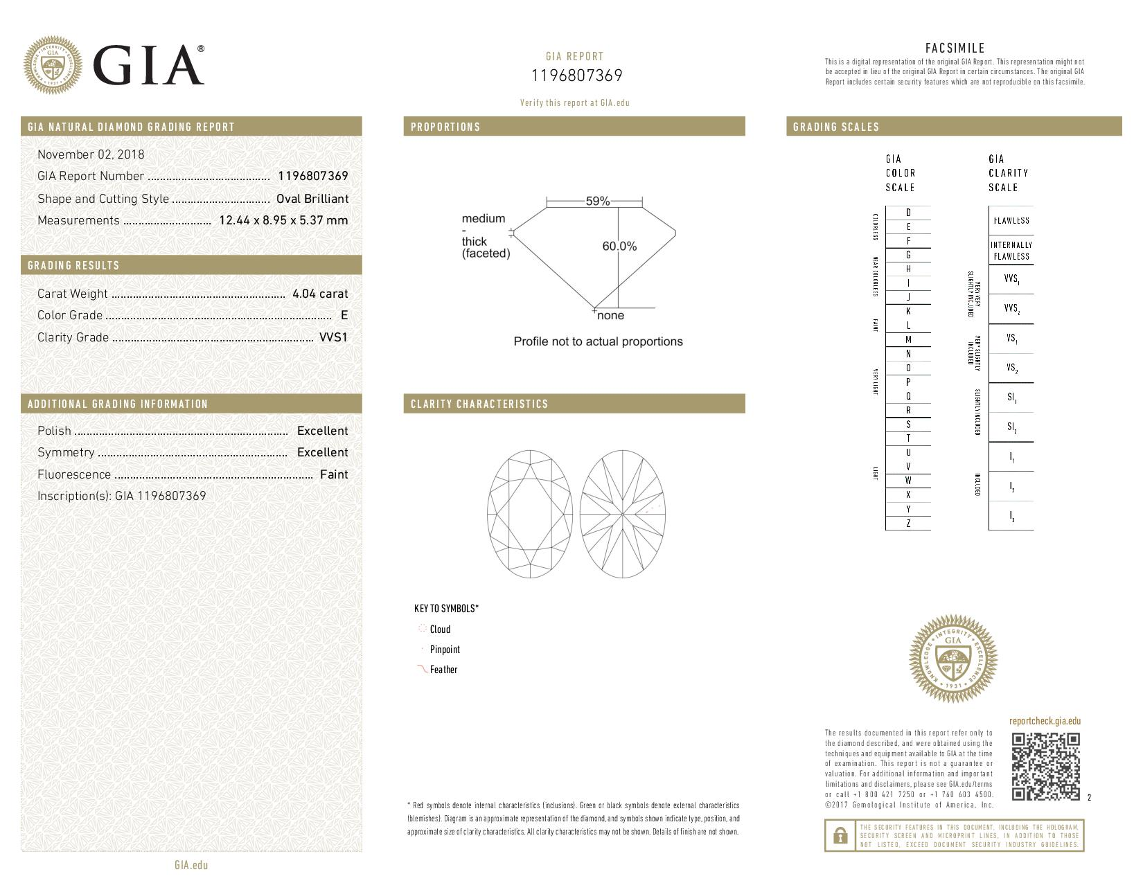 This is a 4.04 carat oval shape, E color, VVS1 clarity natural diamond accompanied by a GIA grading report.