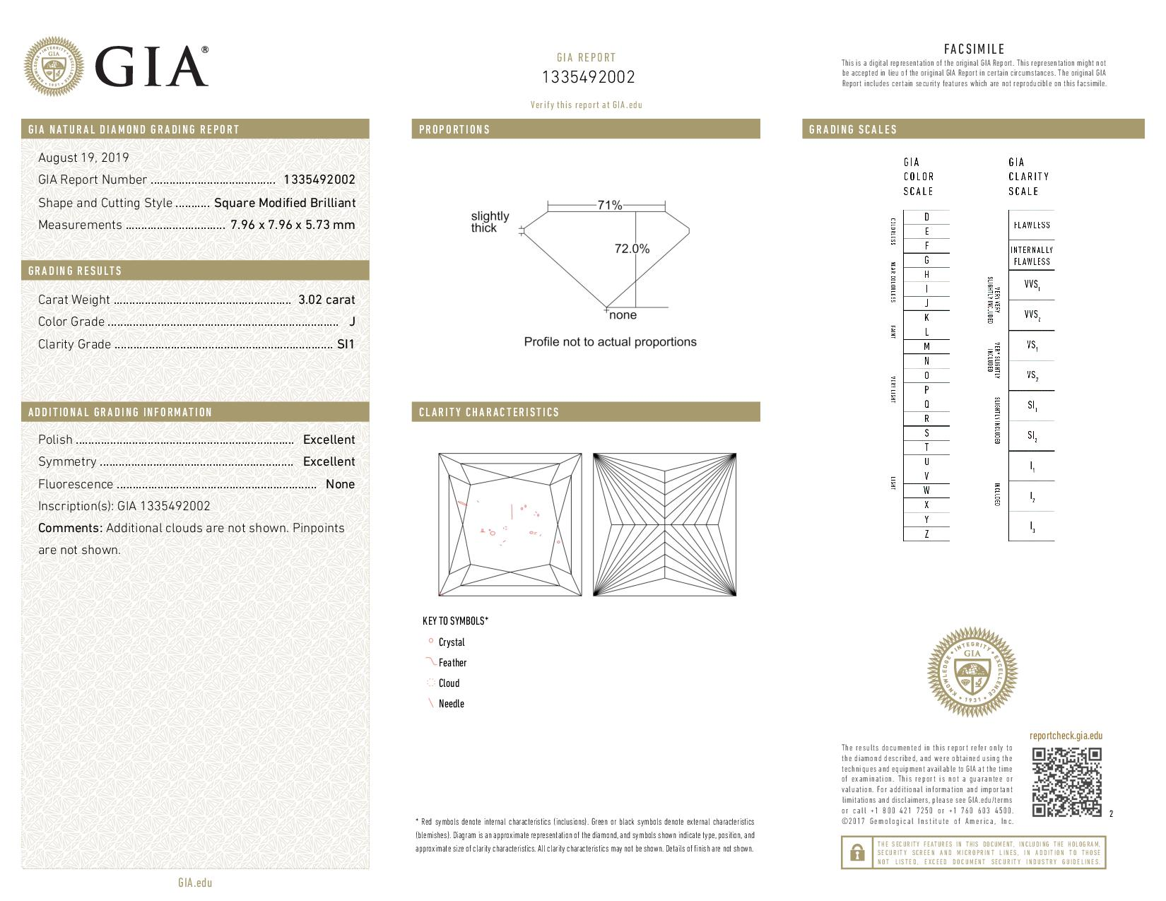 This is a 3.02 carat princess shape, J color, SI1 clarity natural diamond accompanied by a GIA grading report.