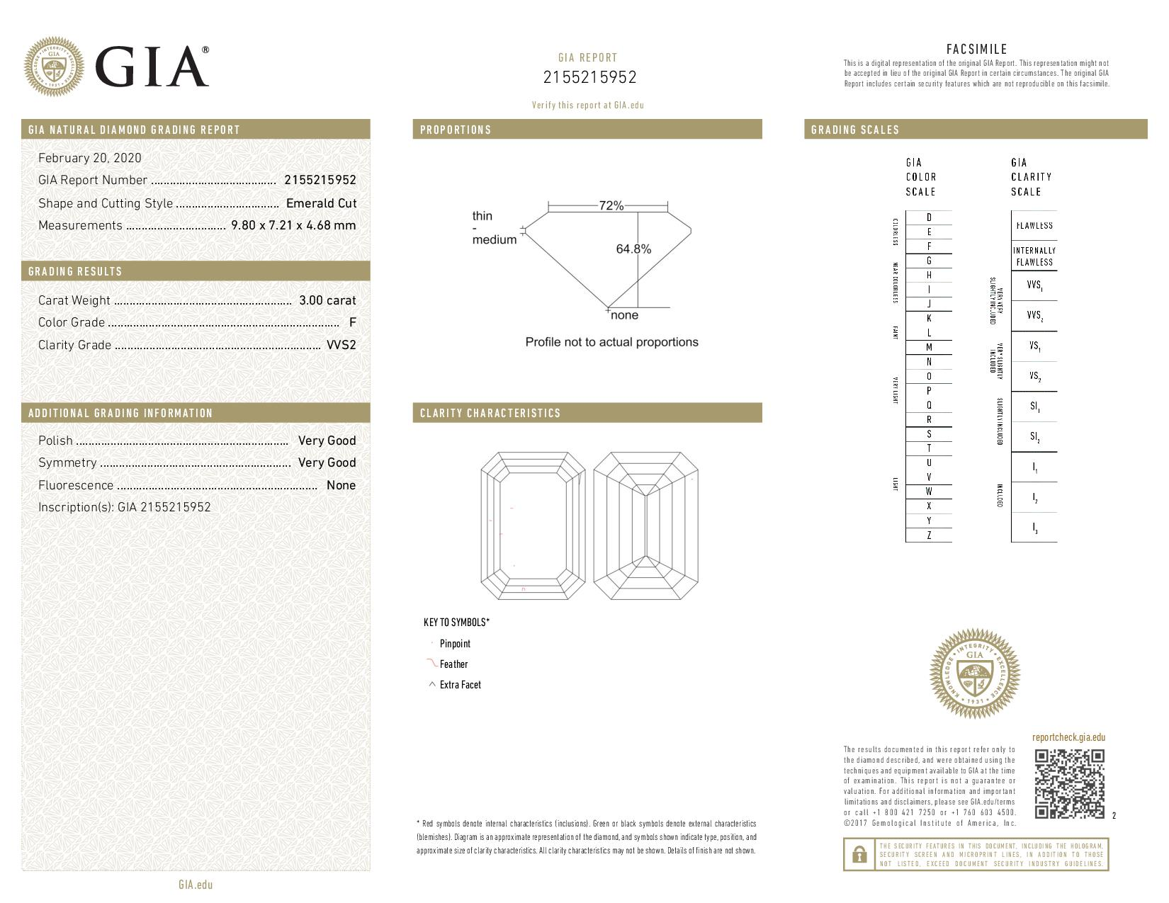 This is a 3.00 carat emerald shape, F color, VVS2 clarity natural diamond accompanied by a GIA grading report.