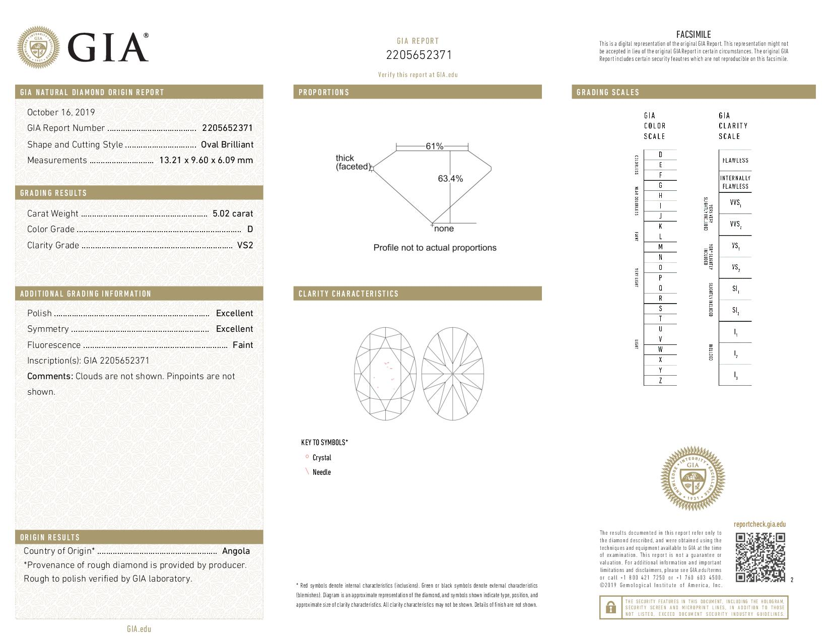 This is a 5.02 carat oval shape, D color, VS2 clarity natural diamond accompanied by a GIA grading report.