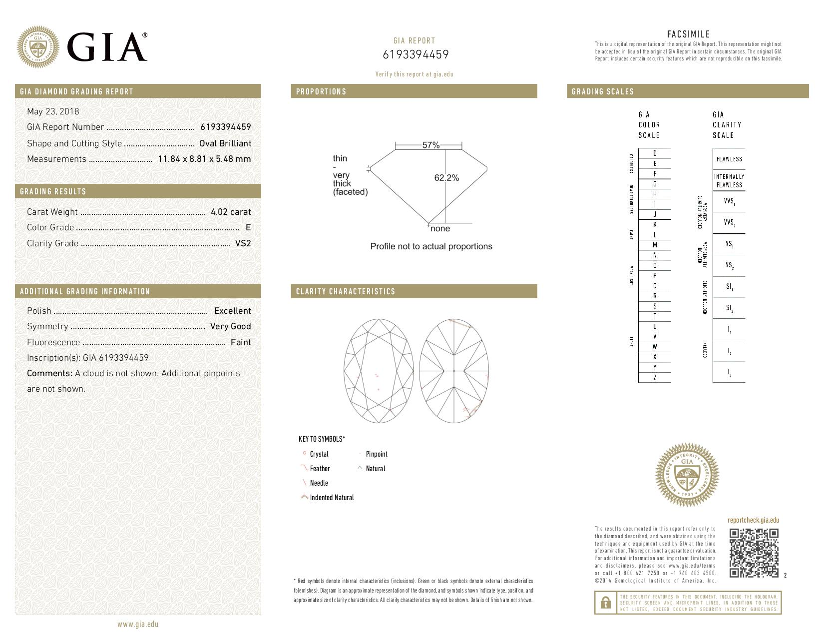 This is a 4.02 carat oval shape, E color, VS2 clarity natural diamond accompanied by a GIA grading report.
