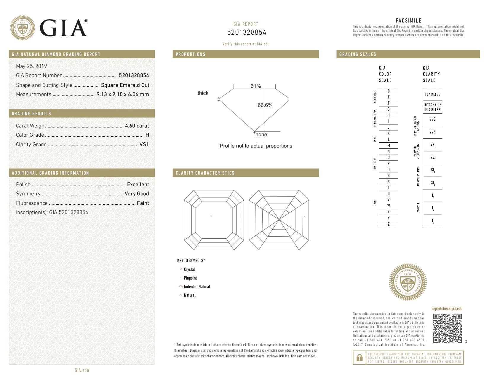 This is a 4.60 carat asscher shape, H color, VS1 clarity natural diamond accompanied by a GIA grading report.