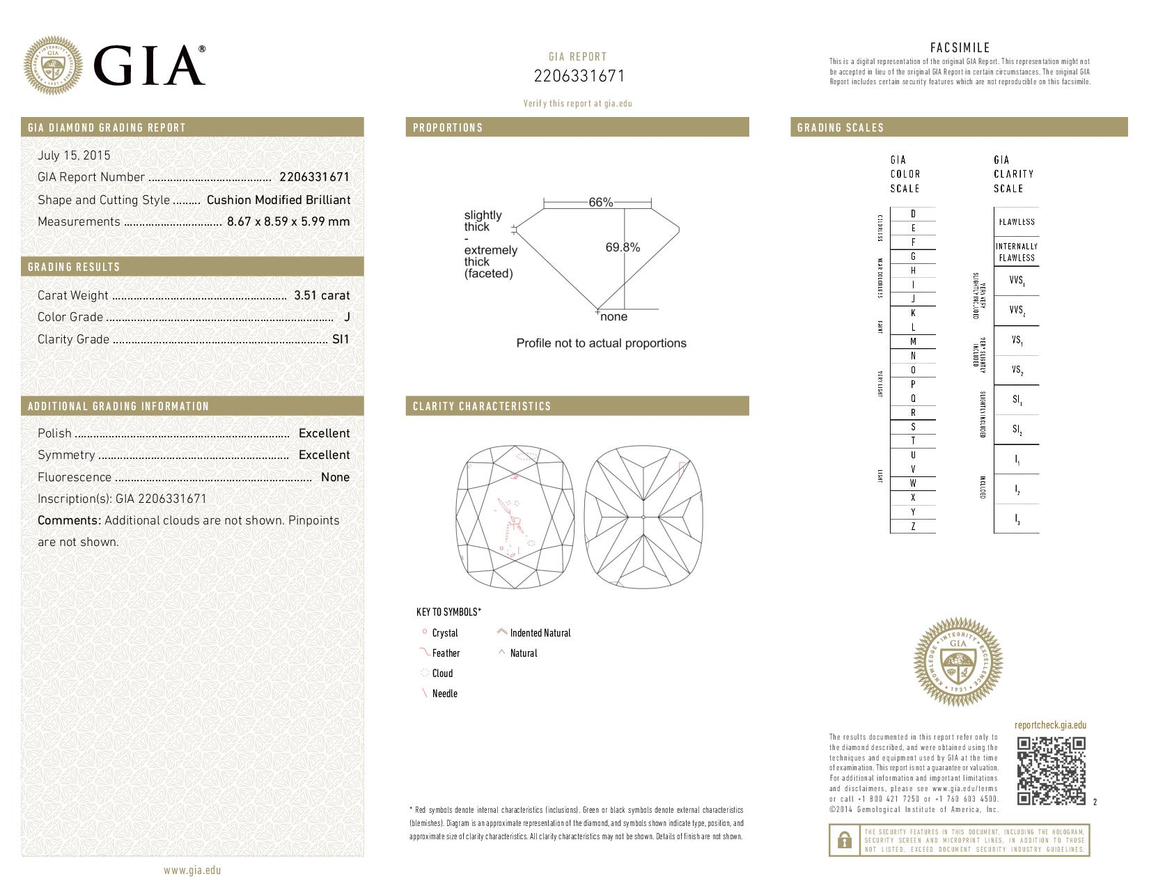 This is a 3.51 carat cushion shape, J color, SI1 clarity natural diamond accompanied by a GIA grading report.