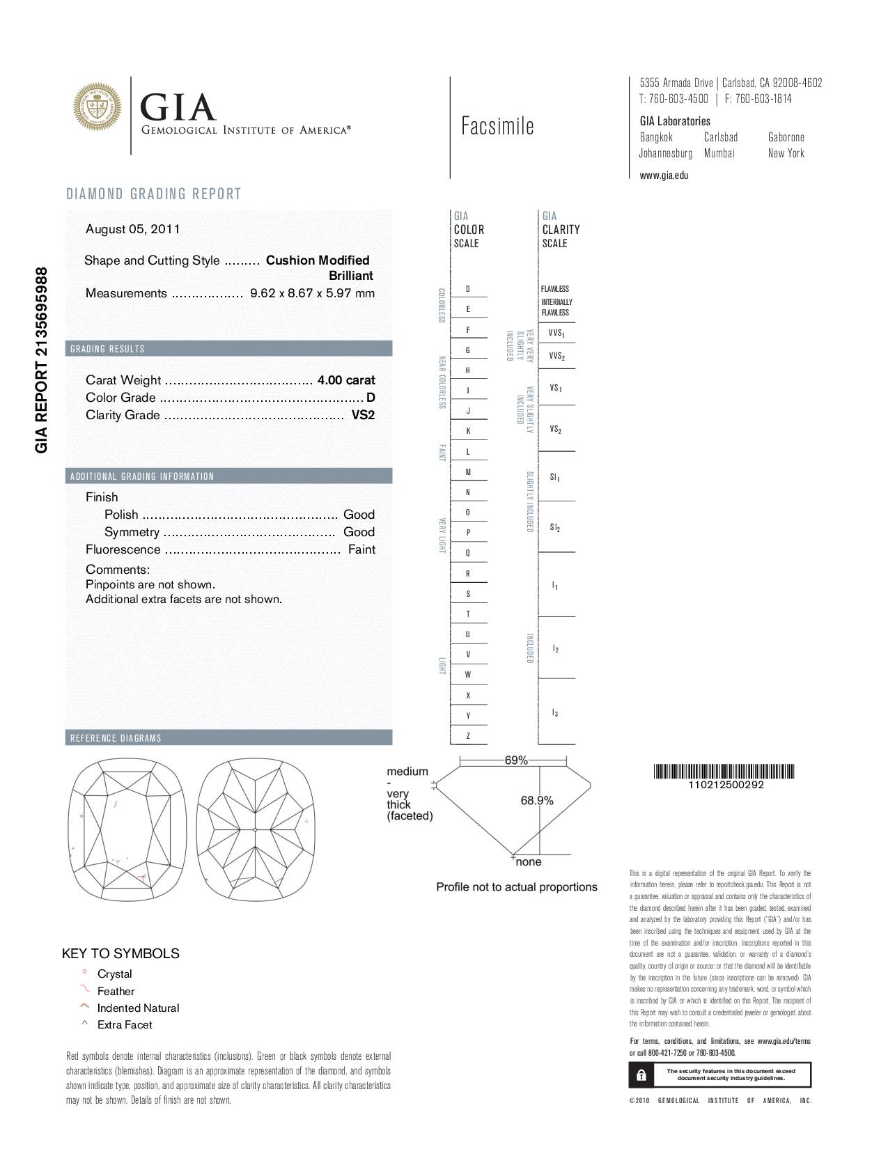 This is a 4.00 carat cushion shape, D color, VS2 clarity natural diamond accompanied by a GIA grading report.