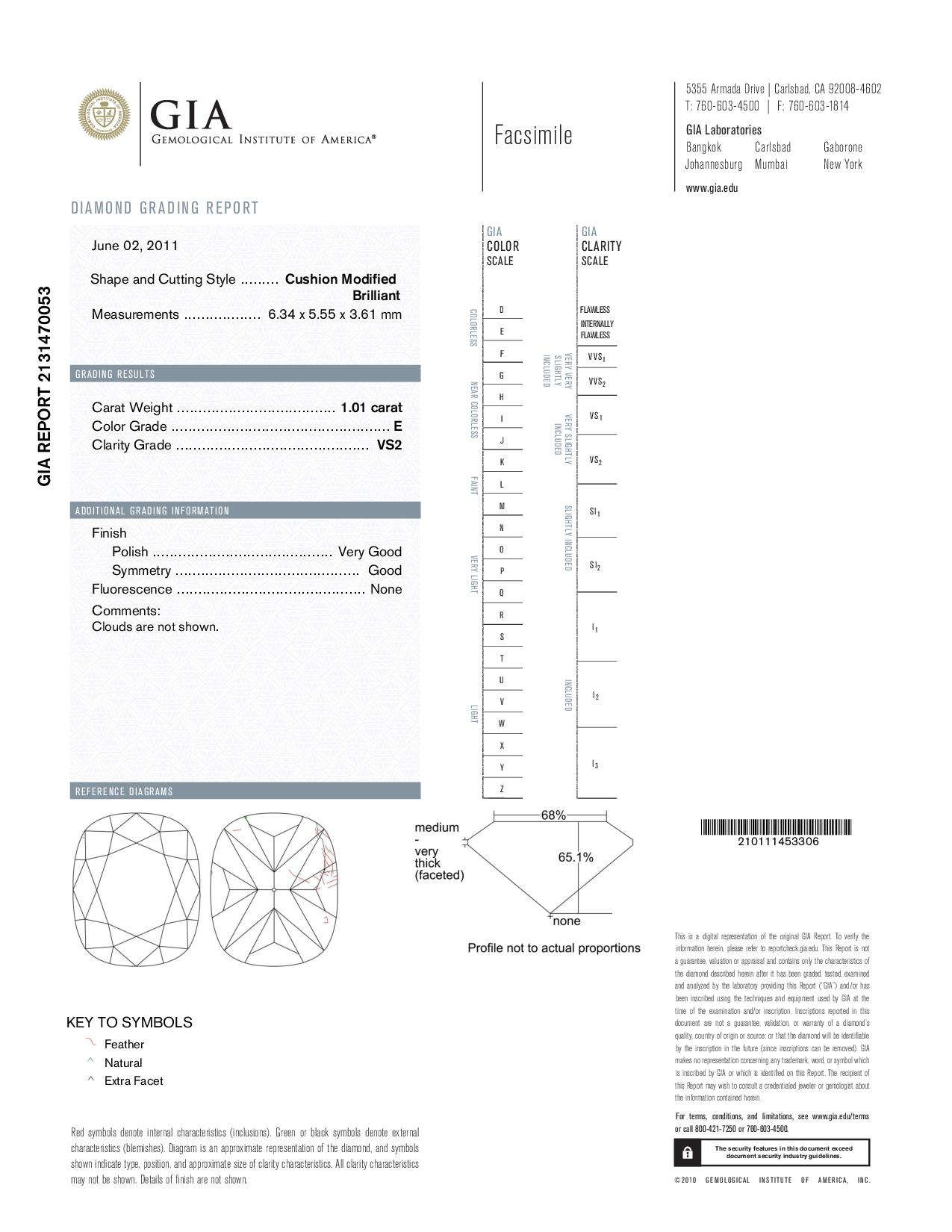 This is a 1.01 carat cushion shape, E color, VS2 clarity natural diamond accompanied by a GIA grading report.